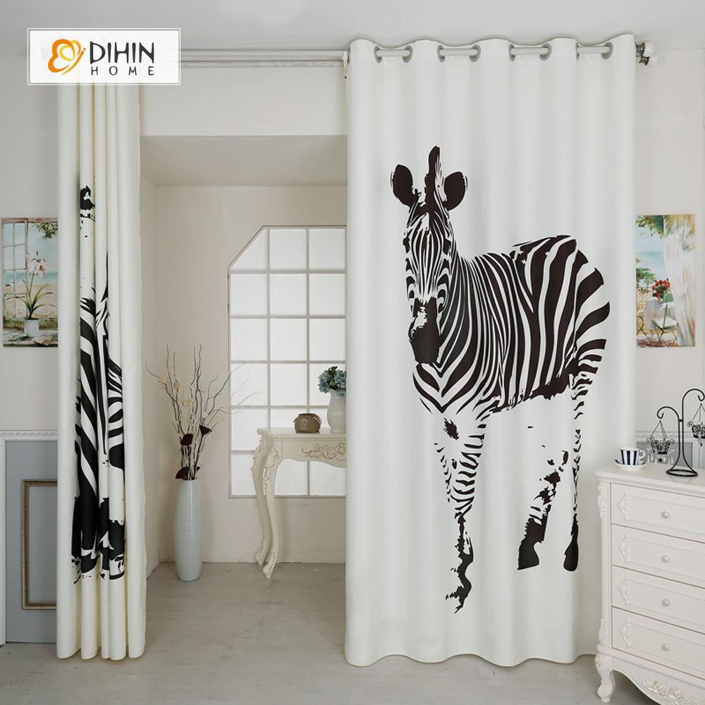 DIHINHOME Home Textile Modern Curtain DIHIN HOME 3D Printed Two Zebra Blackout Curtains ,Window Curtains Grommet Curtain For Living Room ,39x102-inch,2 Panels Included