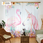 DIHINHOME Home Textile Modern Curtain DIHIN HOME 3D Printed Unicorn and Crane Blackout Curtains ,Window Curtains Grommet Curtain For Living Room ,39x102-inch,2 Panels Included
