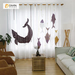 DIHINHOME Home Textile Modern Curtain DIHIN HOME 3D Printed Whale Blackout Curtains ,Window Curtains Grommet Curtain For Living Room ,39x102-inch,2 Panels Included