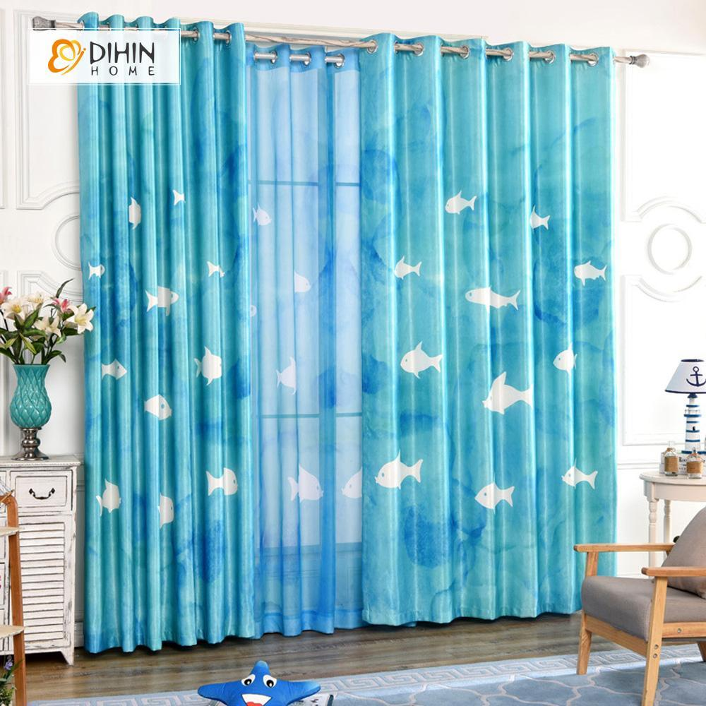 DIHINHOME Home Textile Modern Curtain DIHIN HOME 3D Printed White Fish Blackout Curtains ,Window Curtains Grommet Curtain For Living Room ,39x102-inch,2 Panels Included