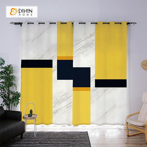 DIHINHOME Home Textile Modern Curtain DIHIN HOME 3D Printed Yellow and Black Geometry Blackout Curtains ,Window Curtains Grommet Curtain For Living Room ,39x102-inch,2 Panels Included