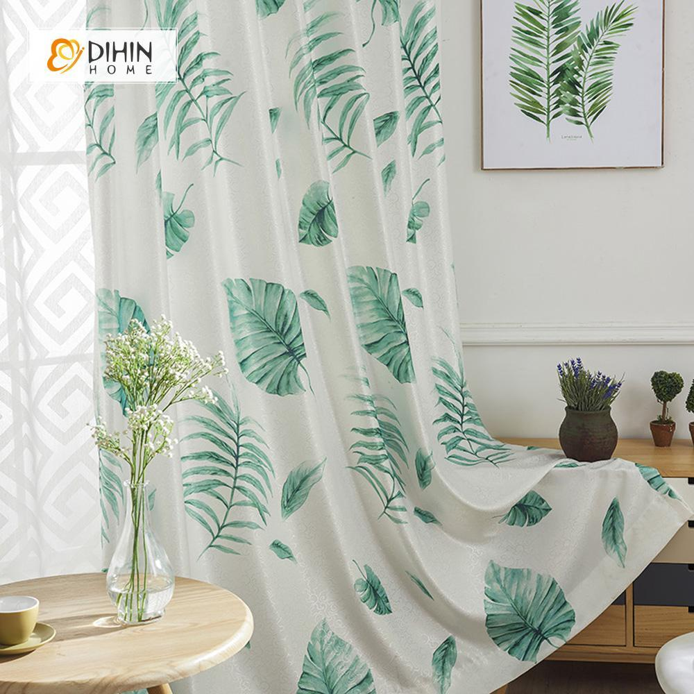 DIHINHOME Home Textile Modern Curtain DIHIN HOME Banana leaf Printed ,Cotton Linen ,Blackout Grommet Window Curtain for Living Room ,52x63-inch,1 Panel