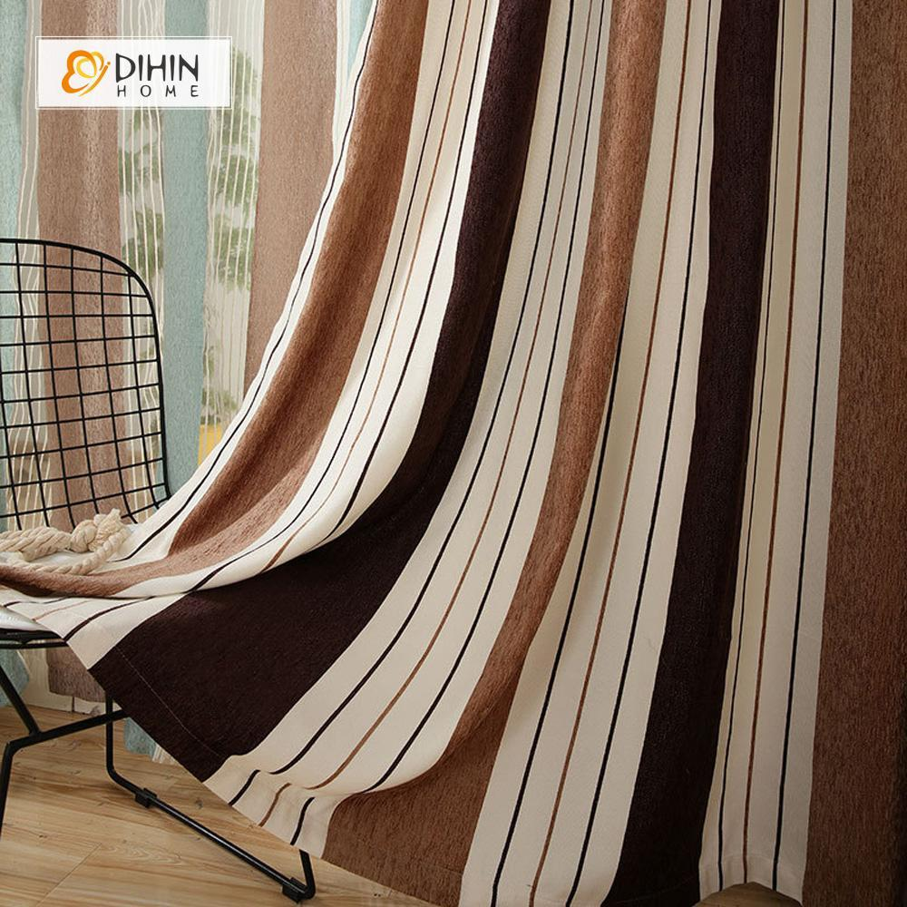 DIHINHOME Home Textile Modern Curtain DIHIN HOME Beige Brown Coffee Curtain,Blackout Grommet Window Curtain for Living Room ,52x63-inch,1 Panel