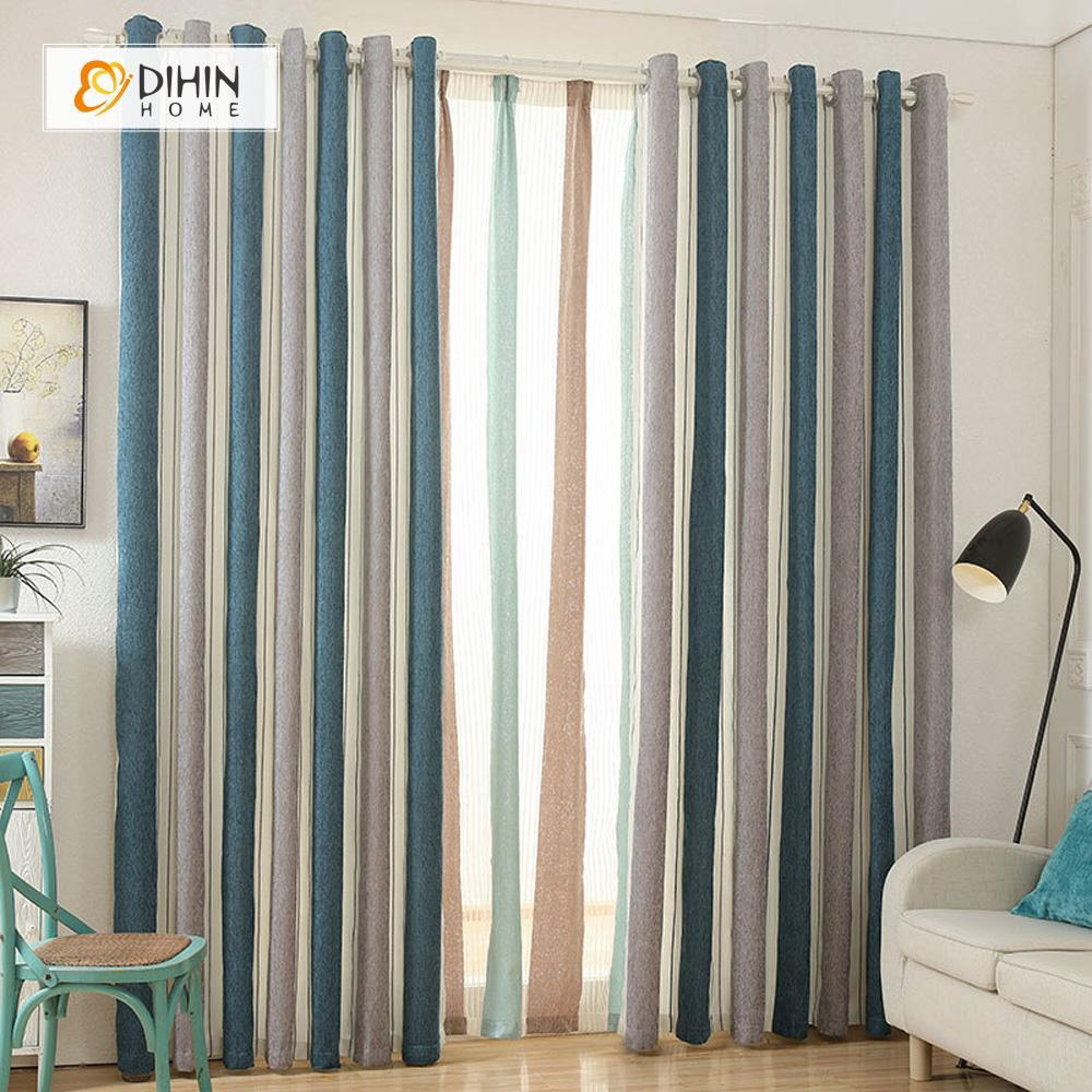 DIHINHOME Home Textile Modern Curtain DIHIN HOME Beige Coffee Cyan Curtain ,Blackout Grommet Window Curtain for Living Room ,52x63-inch,1 Panel