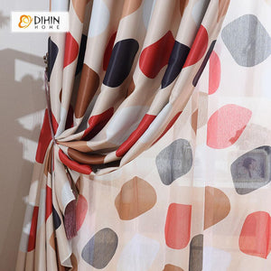DIHINHOME Home Textile Modern Curtain DIHIN HOME Black and Red Circular Printed,Blackout Grommet Window Curtain for Living Room ,52x63-inch,1 Panel