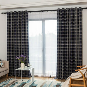 DIHINHOME Home Textile Modern Curtain DIHIN HOME Black Square Printed,Blackout Grommet Window Curtain for Living Room ,52x63-inch,1 Panel