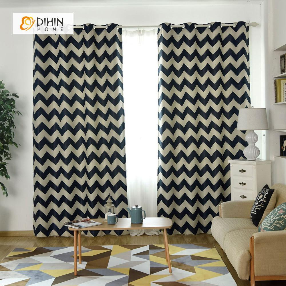 DIHINHOME Home Textile Modern Curtain DIHIN HOME Black Stripes Printed,Blackout Grommet Window Curtain for Living Room ,52x63-inch,1 Panel