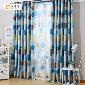 DIHINHOME Home Textile Modern Curtain DIHIN HOME Blue and Brown Circular Printed,Blackout Grommet Window Curtain for Living Room ,52x63-inch,1 Panel
