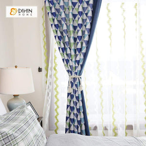DIHINHOME Home Textile Modern Curtain DIHIN HOME Blue and Green Triangle Printed,Blackout Grommet Window Curtain for Living Room ,52x63-inch,1 Panel