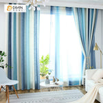 DIHINHOME Home Textile Modern Curtain DIHIN HOME Blue and White Curtain,Blackout Grommet Window Curtain for Living Room ,52x63-inch,1 Panel