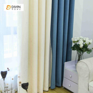 DIHINHOME Home Textile Modern Curtain DIHIN HOME Blue and White Printed,Blackout Grommet Window Curtain for Living Room ,52x63-inch,1 Panel