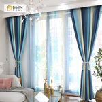 DIHINHOME Home Textile Modern Curtain DIHIN HOME Blue Beige Printed,Blackout Grommet Window Curtain for Living Room ,52x63-inch,1 Panel