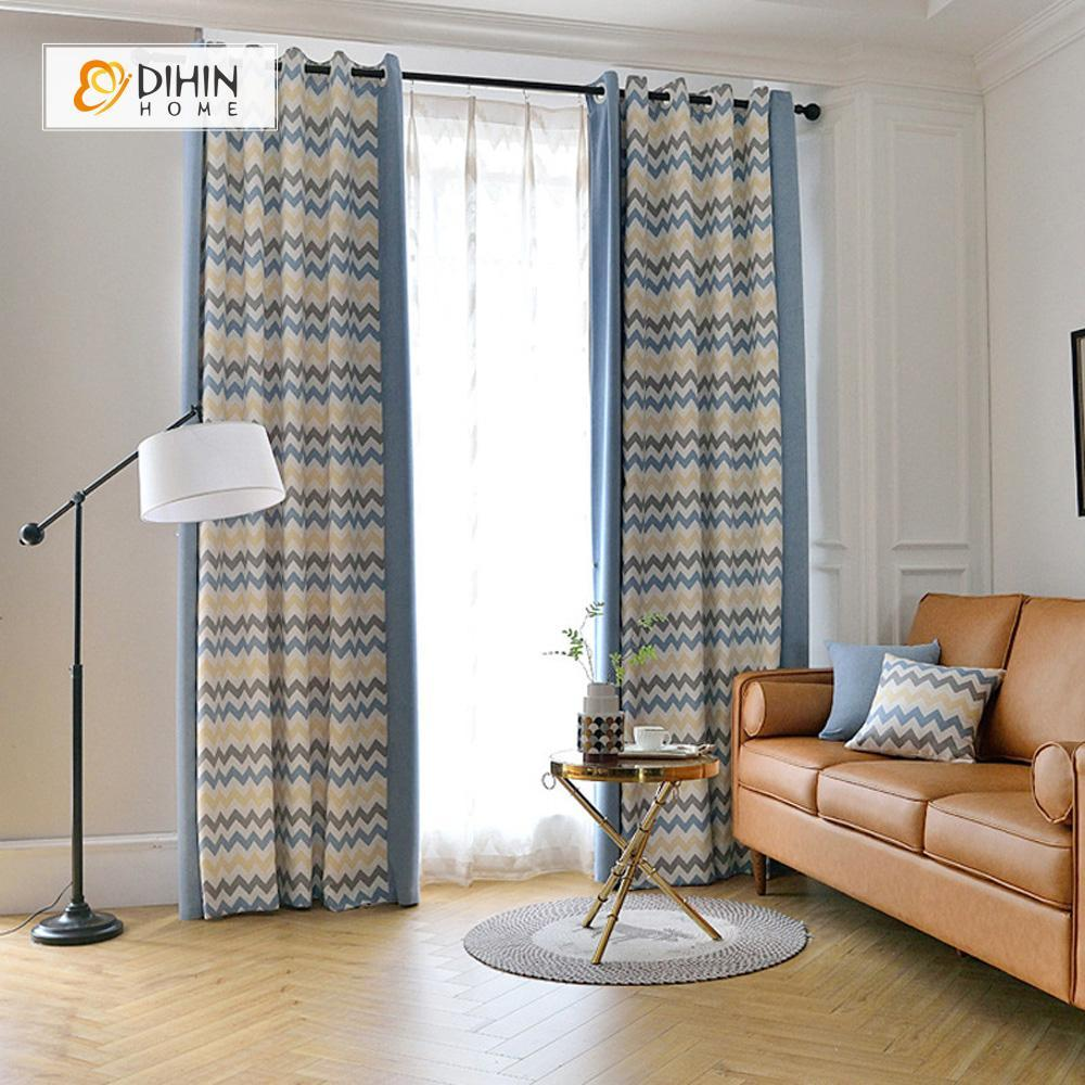 DIHINHOME Home Textile Modern Curtain DIHIN HOME Blue Brown Yellow Wave Printed,Blackout Grommet Window Curtain for Living Room ,52x63-inch,1 Panel