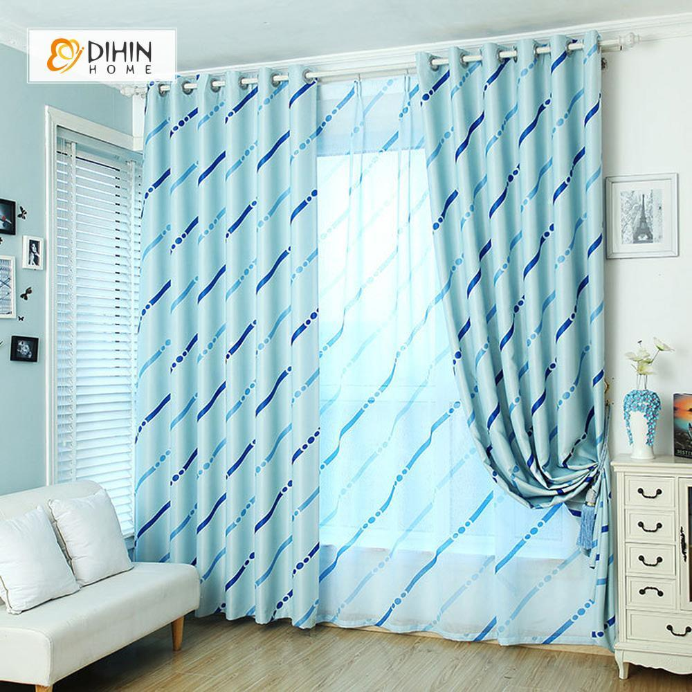 DIHINHOME Home Textile Modern Curtain DIHIN HOME Blue Curve and Spot Printed,Blackout Grommet Window Curtain for Living Room ,52x63-inch,1 Panel