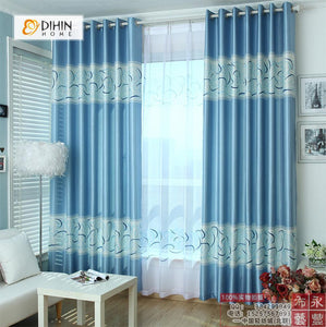 DIHINHOME Home Textile Modern Curtain DIHIN HOME Blue Curve Printed,Blackout Grommet Window Curtain for Living Room ,52x63-inch,1 Panel