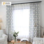 DIHINHOME Home Textile Modern Curtain DIHIN HOME Blue Geometric Printed,Blackout Grommet Window Curtain for Living Room ,52x63-inch,1 Panel