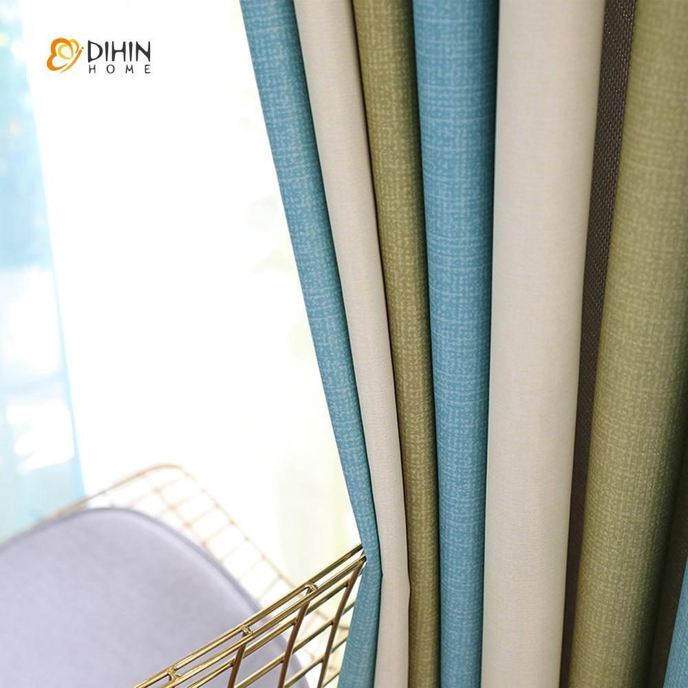 DIHINHOME Home Textile Modern Curtain DIHIN HOME Blue Green Beige Printed,Blackout Grommet Window Curtain for Living Room ,52x63-inch,1 Panel