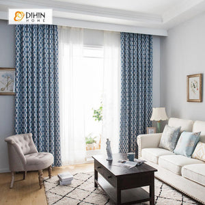 DIHINHOME Home Textile Modern Curtain DIHIN HOME Blue Hexagon Printed,Blackout Grommet Window Curtain for Living Room ,52x63-inch,1 Panel