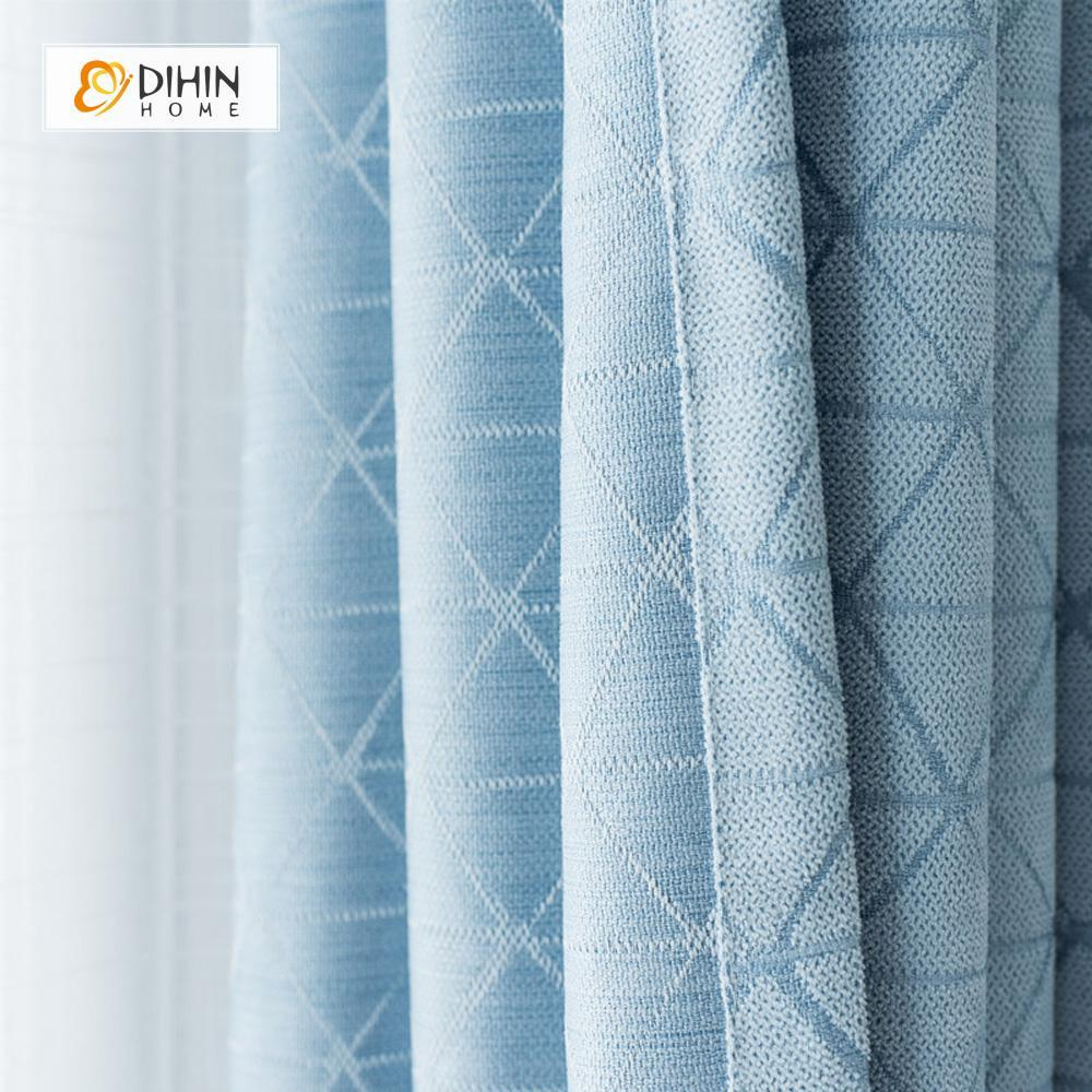 DIHINHOME Home Textile Modern Curtain DIHIN HOME Blue Lines Printed,Blackout Grommet Window Curtain for Living Room ,52x63-inch,1 Panel