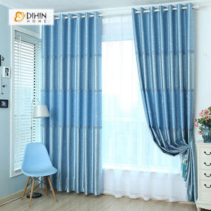 DIHINHOME Home Textile Modern Curtain DIHIN HOME Blue Spot Printed,Blackout Grommet Window Curtain for Living Room ,52x63-inch,1 Panel
