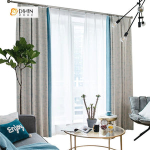 DIHINHOME Home Textile Modern Curtain DIHIN HOME Blue Unclear Lines Printed,Blackout Grommet Window Curtain for Living Room ,52x63-inch,1 Panel
