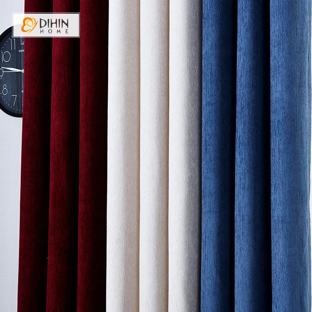 DIHINHOME Home Textile Modern Curtain DIHIN HOME Blue White Red Printed,Velvet,Blackout Grommet Window Curtain for Living Room ,52x63-inch,1 Panel