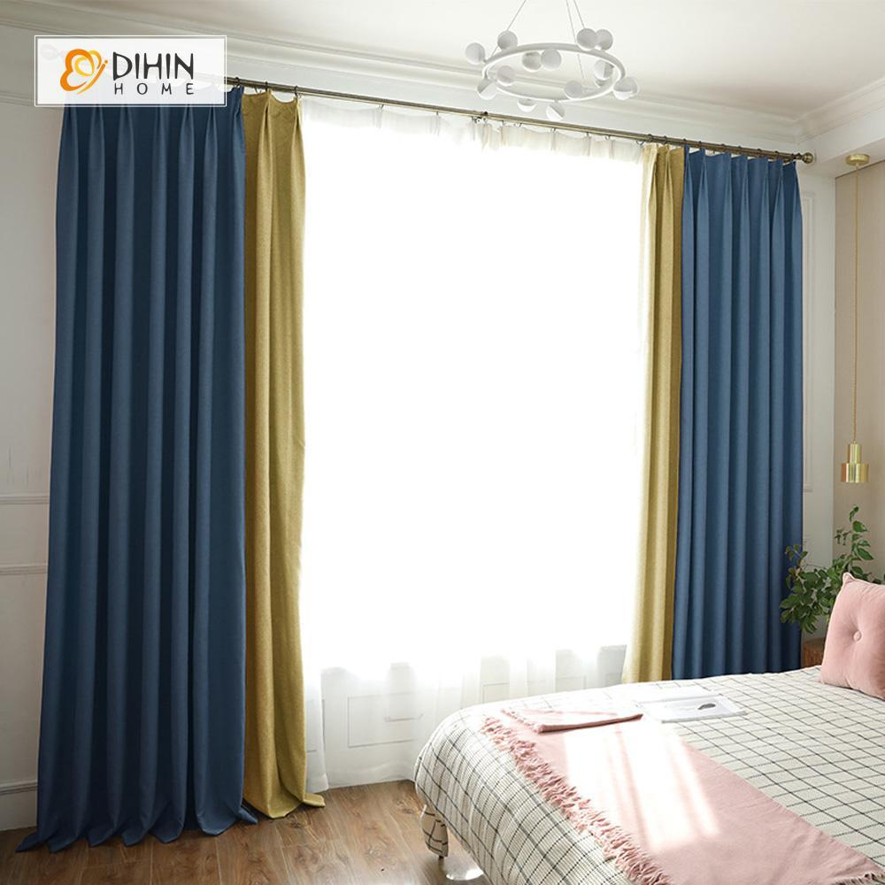 DIHINHOME Home Textile Modern Curtain DIHIN HOME Blue Yellow Printed,Blackout Grommet Window Curtain for Living Room ,52x63-inch,1 Panel