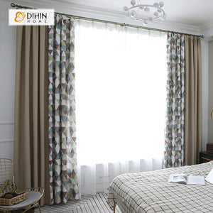 DIHINHOME Home Textile Modern Curtain DIHIN HOME Brown and Blue Geometry Printed,Blackout Grommet Window Curtain for Living Room ,52x63-inch,1 Panel