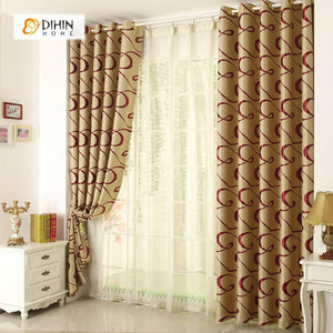 DIHINHOME Home Textile Modern Curtain DIHIN HOME Brown Curve Printed Curtain,Blackout Grommet Window Curtain for Living Room ,52x63-inch,1 Panel