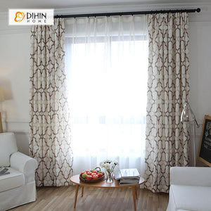 DIHINHOME Home Textile Modern Curtain DIHIN HOME Brown Geometry Printed,Blackout Grommet Window Curtain for Living Room ,52x63-inch,1 Panel