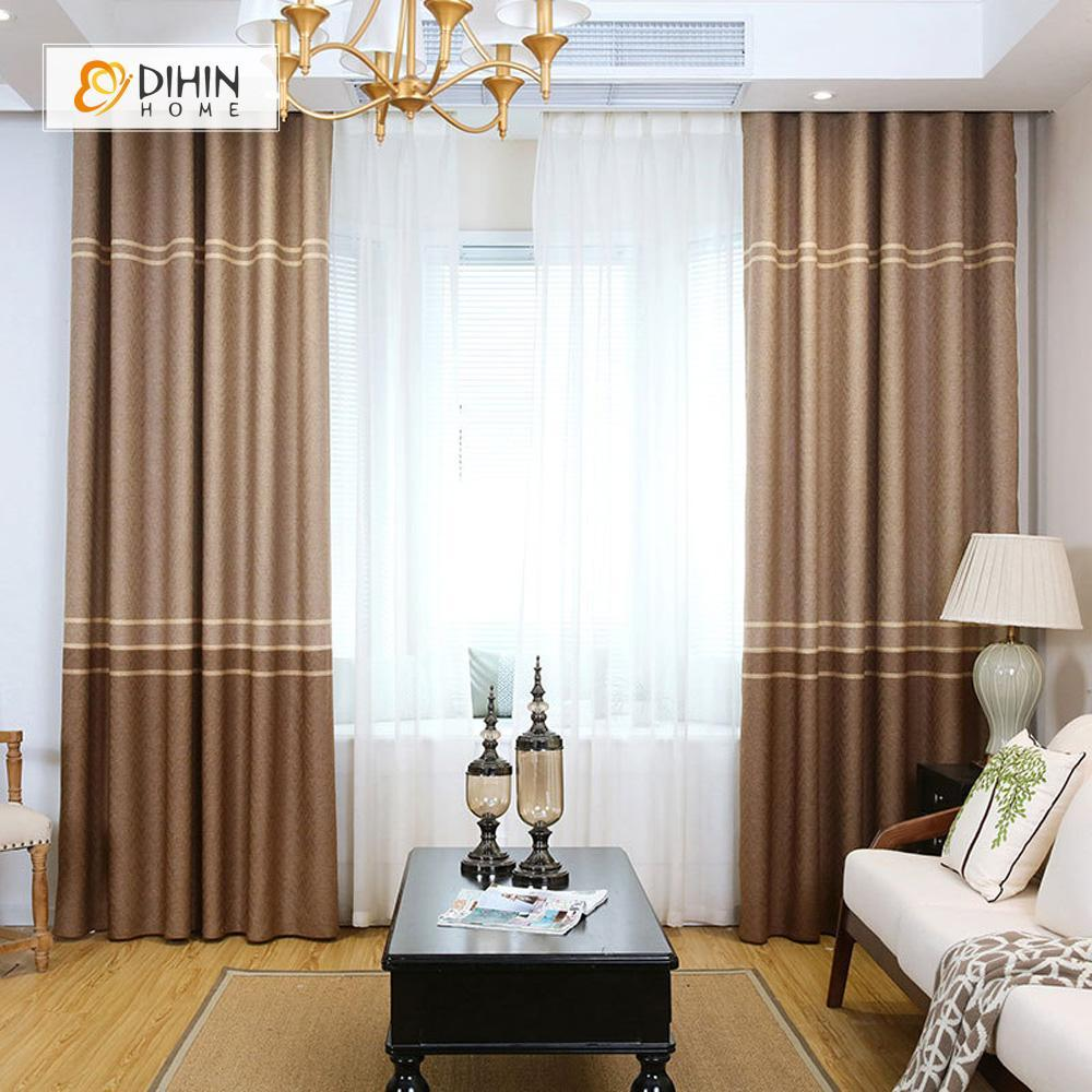 DIHINHOME Home Textile Modern Curtain DIHIN HOME Brown Lines Printed,Blackout Grommet Window Curtain for Living Room ,52x63-inch,1 Panel