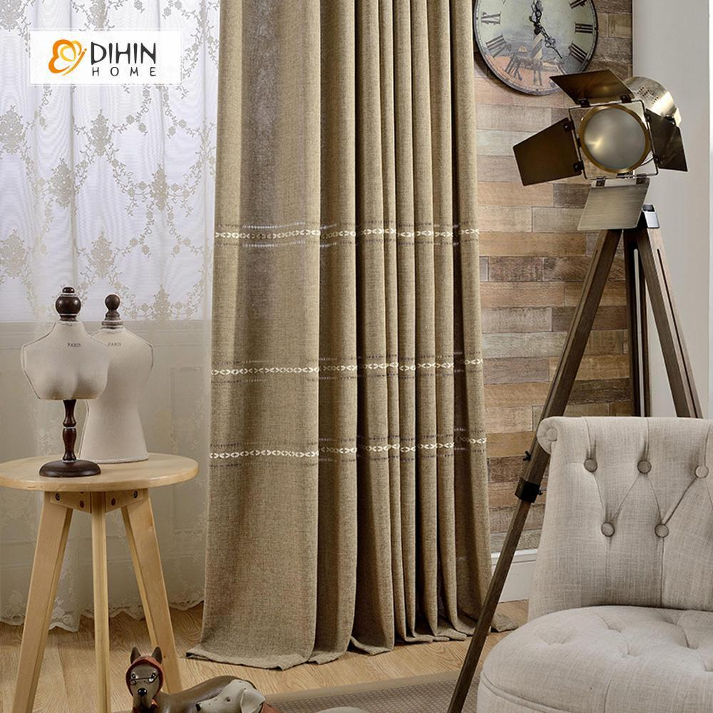 DIHINHOME Home Textile Modern Curtain DIHIN HOME Brown Simplicity Printed ,Blackout Grommet Window Curtain for Living Room ,52x63-inch,1 Panel