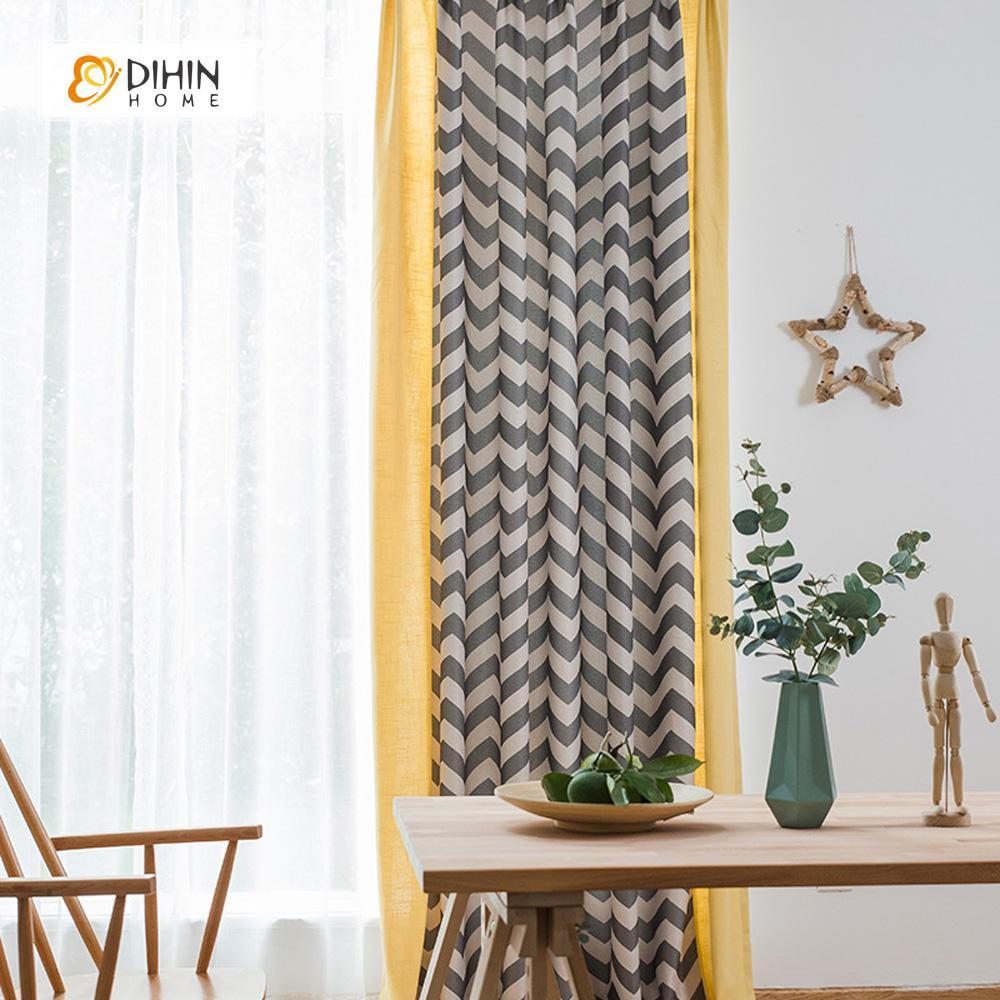 DIHINHOME Home Textile Modern Curtain DIHIN HOME Brown Wave Printed,Blackout Grommet Window Curtain for Living Room ,52x63-inch,1 Panel