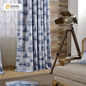 DIHINHOME Home Textile Modern Curtain DIHIN HOME Chinese Style Printed ,Blackout Grommet Window Curtain for Living Room ,52x63-inch,1 Panel