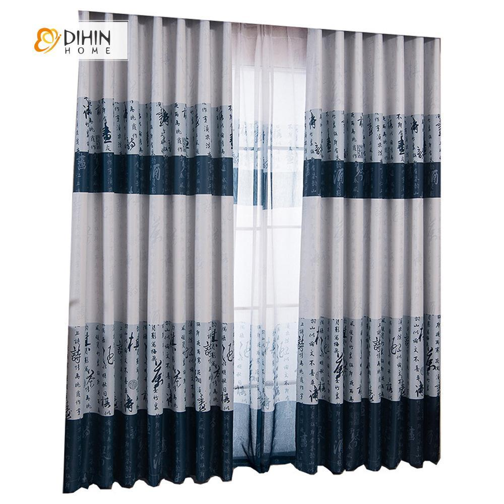DIHINHOME Home Textile Modern Curtain DIHIN HOME Chinese Written Words Printed,Cotton Line,Blackout Grommet Window Curtain for Living Room ,52x63-inch,1 Panel