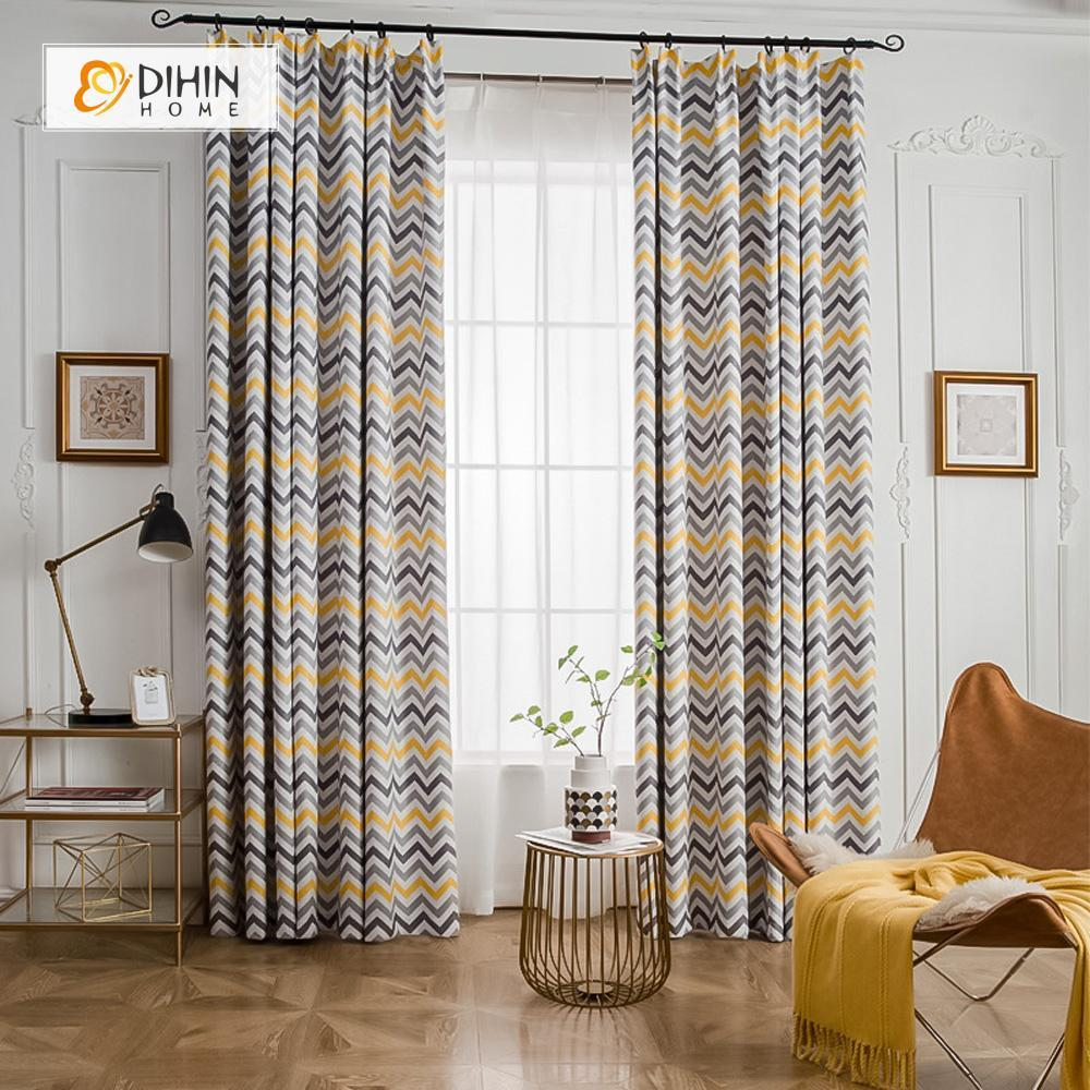 DIHINHOME Home Textile Modern Curtain DIHIN HOME Close Stripes Printed ,Cotton Linen ,Blackout Grommet Window Curtain for Living Room ,52x63-inch,1 Panel