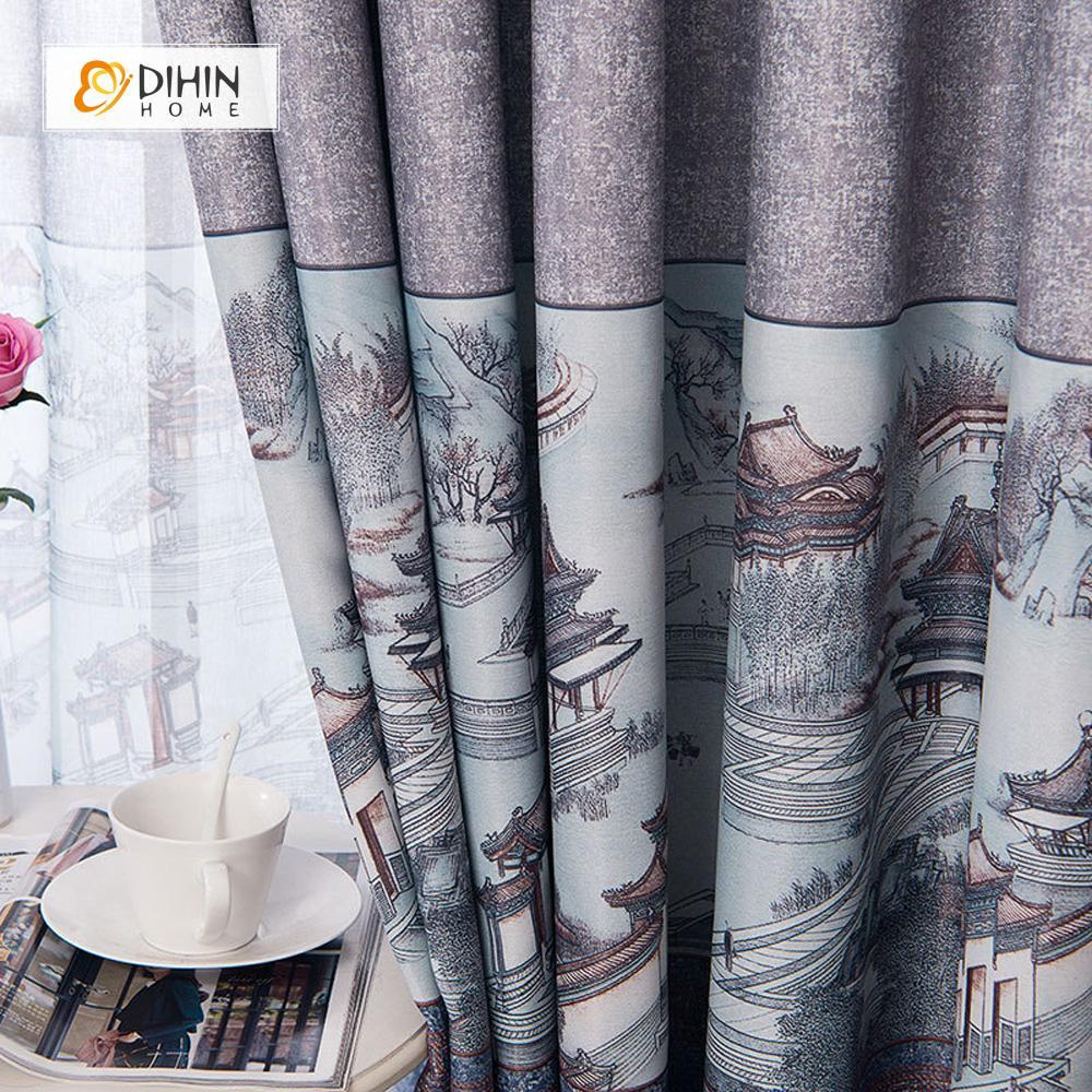 DIHINHOME Home Textile Modern Curtain DIHIN HOME Coffee Chinese Architecture Printed,Cotton Line,Blackout Grommet Window Curtain for Living Room ,52x63-inch,1 Panel