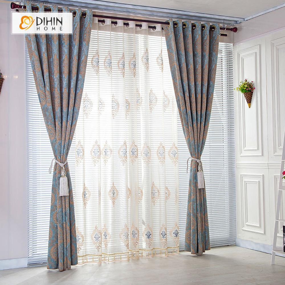 DIHINHOME Home Textile Modern Curtain DIHIN HOME Coffee Pattern Printed,Blackout Grommet Window Curtain for Living Room ,52x63-inch,1 Panel