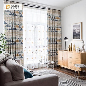 DIHINHOME Home Textile Modern Curtain DIHIN HOME Complex Geometric Patterns Printed,Blackout Grommet Window Curtain for Living Room ,52x63-inch,1 Panel
