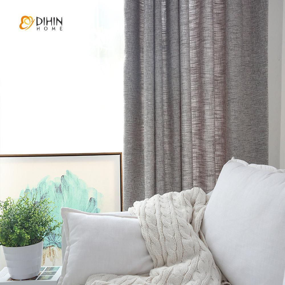 DIHINHOME Home Textile Modern Curtain DIHIN HOME Dark Grey Solid ,Cotton Linen,Blackout Grommet Window Curtain for Living Room ,52x63-inch,1 Panel