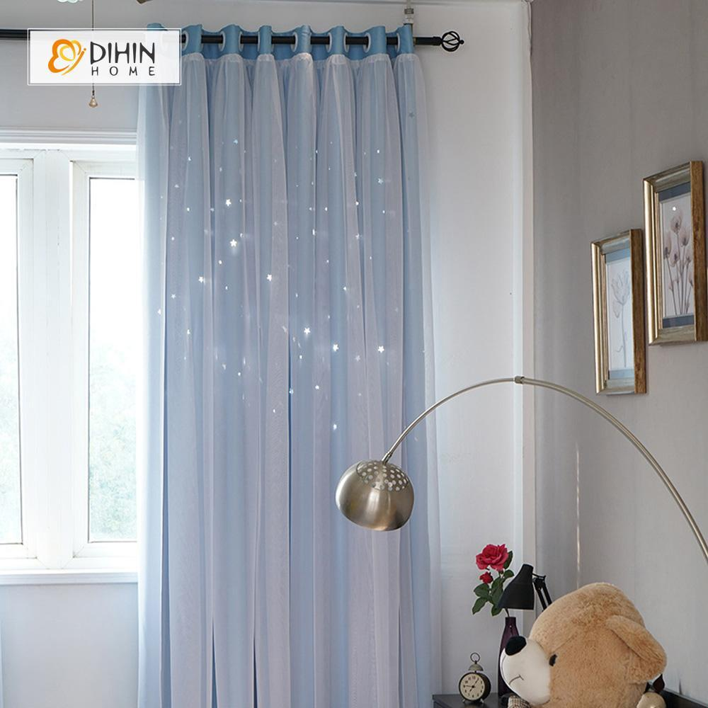 DIHINHOME Home Textile Modern Curtain DIHIN HOME Elegant Bright Blue Printed,Blackout Grommet Window Curtain for Living Room ,52x63-inch,1 Panel