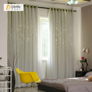 DIHINHOME Home Textile Modern Curtain DIHIN HOME Elegant Green Printed,Blackout Grommet Window Curtain for Living Room ,52x63-inch,1 Panel
