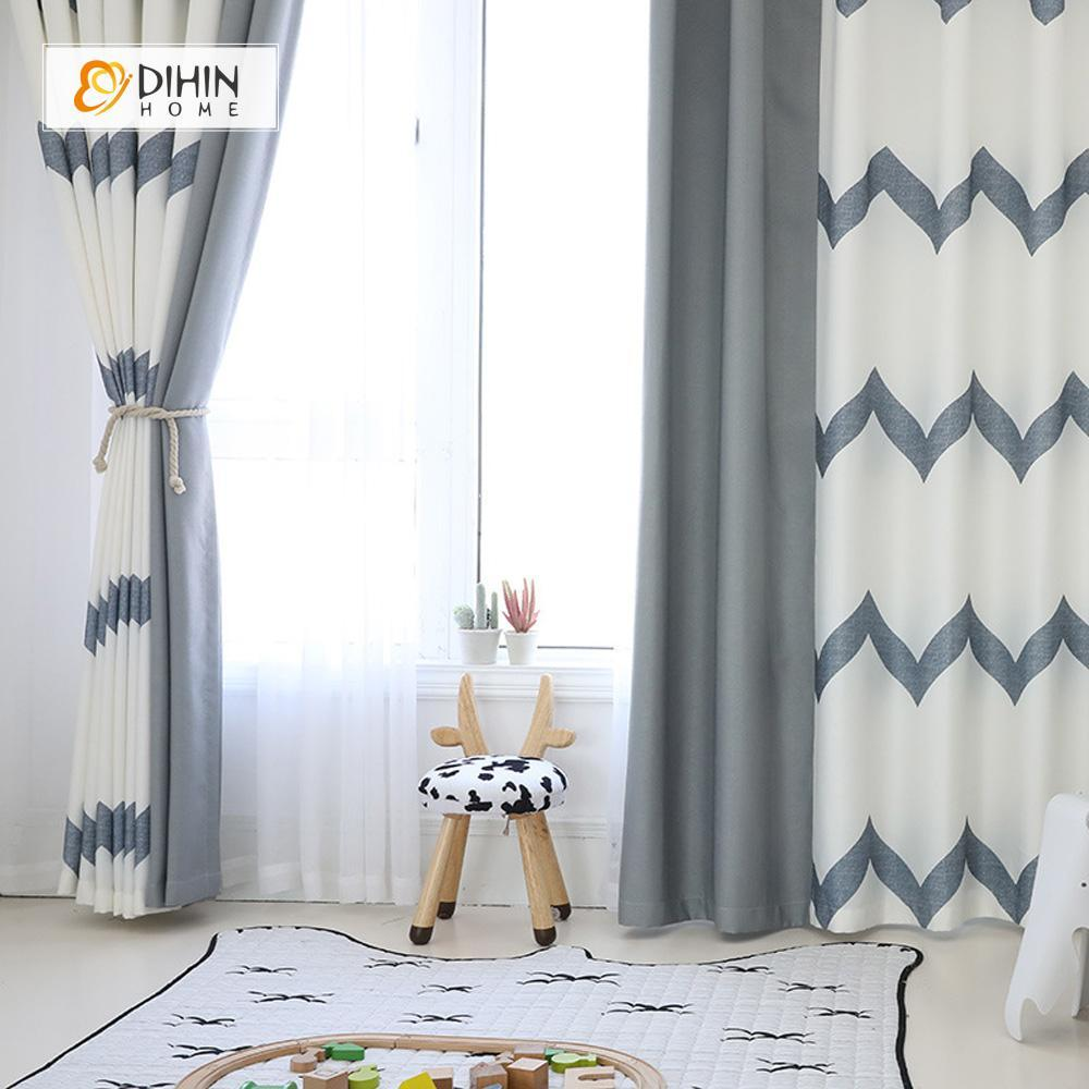 DIHINHOME Home Textile Modern Curtain DIHIN HOME Elegant Grey Stripes Printed,Blackout Grommet Window Curtain for Living Room ,52x63-inch,1 Panel