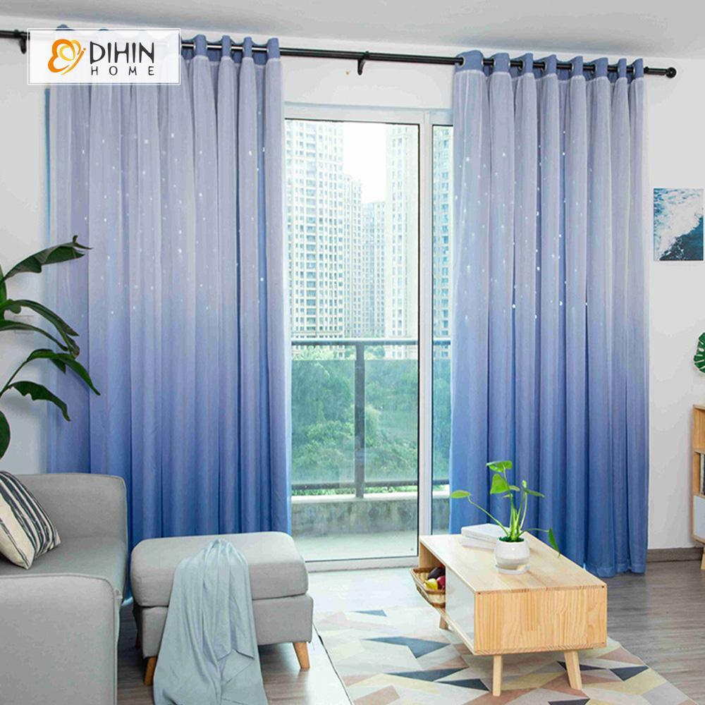 DIHINHOME Home Textile Modern Curtain DIHIN HOME Elegant Light Blue Printed,Blackout Grommet Window Curtain for Living Room ,52x63-inch,1 Panel