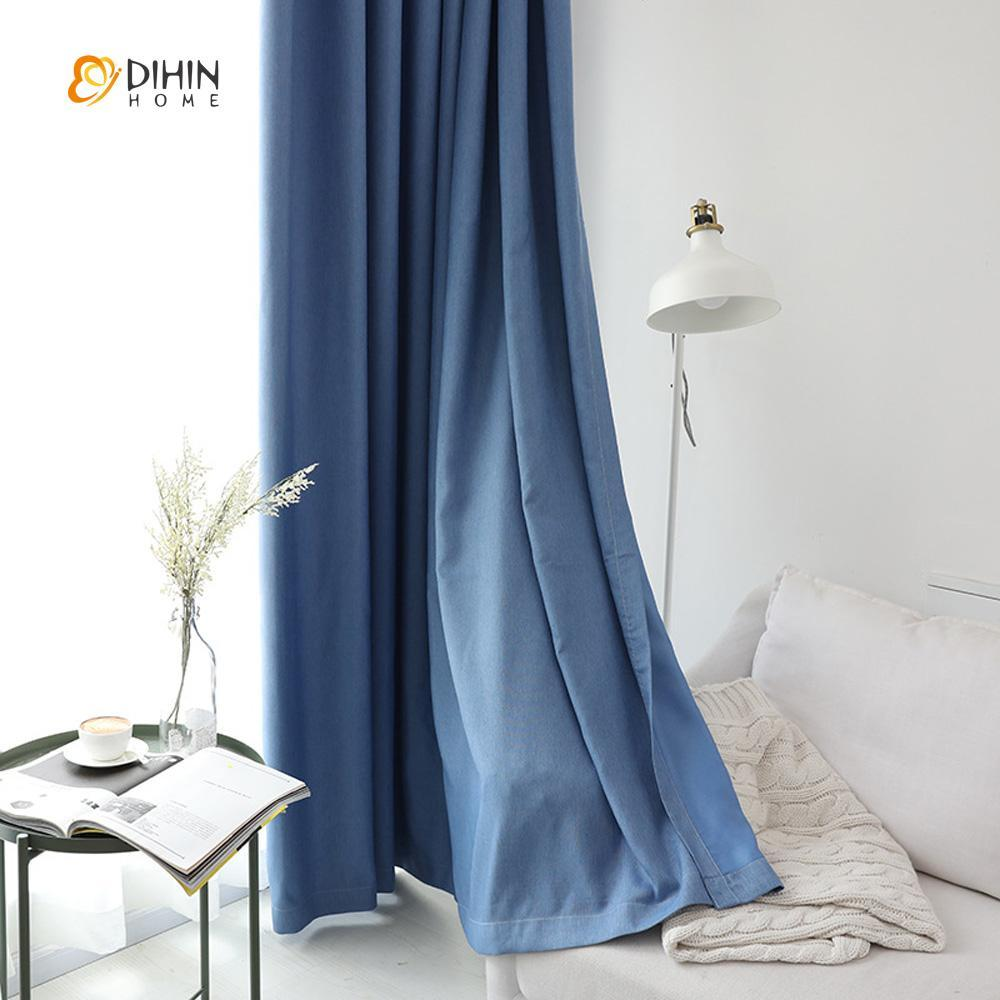 DIHINHOME Home Textile Modern Curtain DIHIN HOME Elegant Solid Blue Printed,Blackout Grommet Window Curtain for Living Room ,52x63-inch,1 Panel