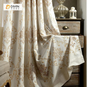 DIHINHOME Home Textile Modern Curtain DIHIN HOME Embroidered Jacquard Curtain ,Cotton Linen ,Blackout Grommet Window Curtain for Living Room ,52x63-inch,1 Panel