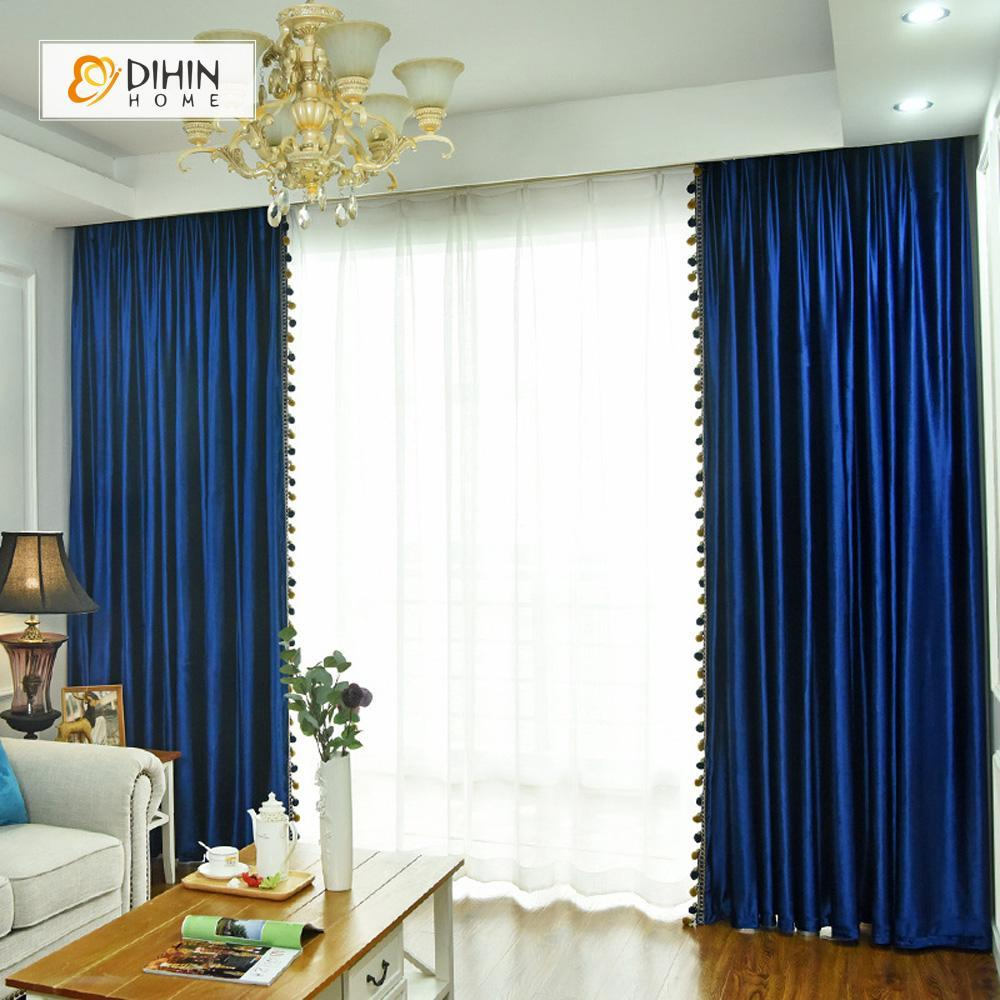 DIHINHOME Home Textile Modern Curtain DIHIN HOME Exquisite Blue Printed Velvet,Blackout Grommet Window Curtain for Living Room ,52x63-inch,1 Panel