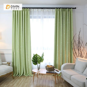 DIHINHOME Home Textile Modern Curtain DIHIN HOME Exquisite Light Green Printed,Blackout Grommet Window Curtain for Living Room ,52x63-inch,1 Panel