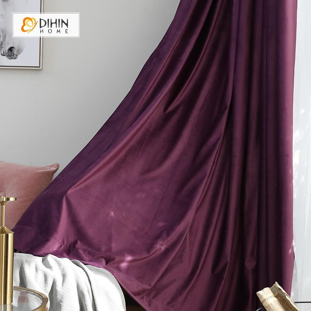 DIHINHOME Home Textile Modern Curtain DIHIN HOME Exquisite Purple Printed Velvet,Blackout Grommet Window Curtain for Living Room ,52x63-inch,1 Panel