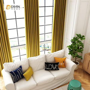 DIHINHOME Home Textile Modern Curtain DIHIN HOME Exquisite Yellow Printed,Blackout Grommet Window Curtain for Living Room ,52x63-inch,1 Panel